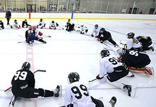 Image of Gretzky Hockey School attendees warming up.
