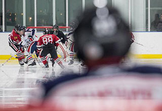 Image of view from goaltender.